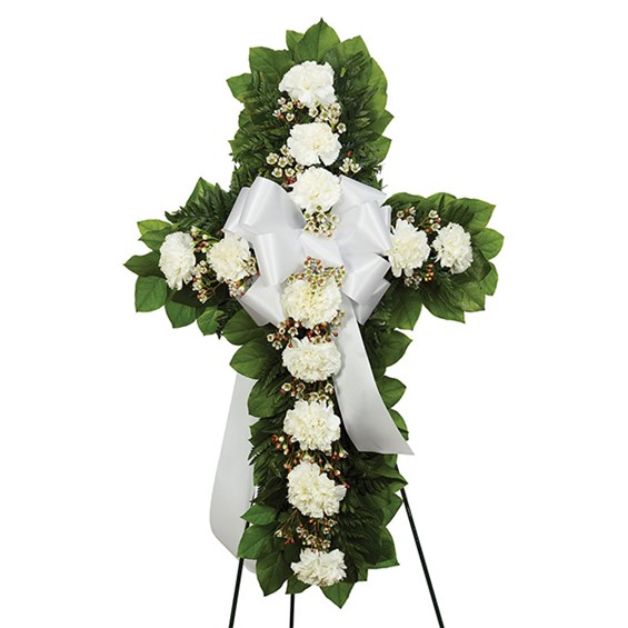 Standing Cross, White. Visit Ingallina's Gifts for more sympathy flower arrangements, gift baskets and more